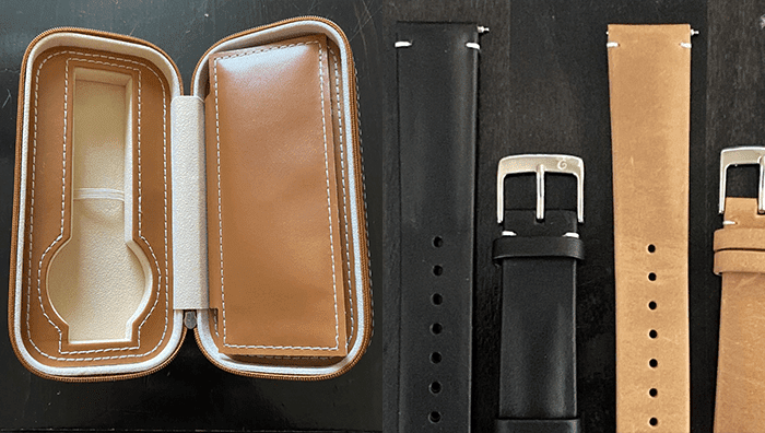 Leather travel watch case beside black and khaki vegetable tanned genuine calf leather watch straps