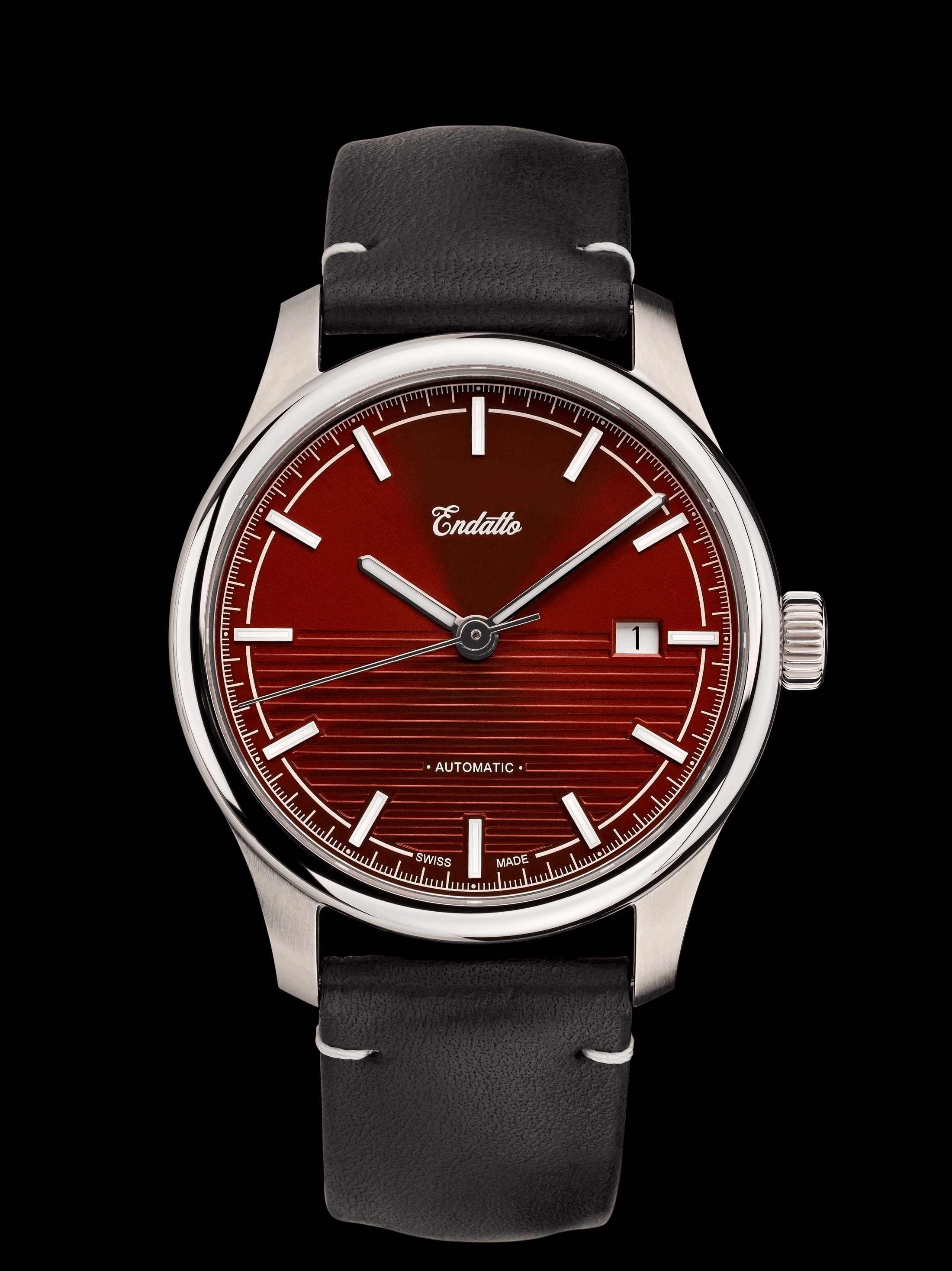 Endatto's Swiss-made watch featuring an Eta 2824-2 automatic movement and a red dial.