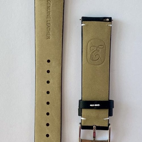genuine calf leather watch strap vegetable tanned black with quick release pins and a tongue buckle