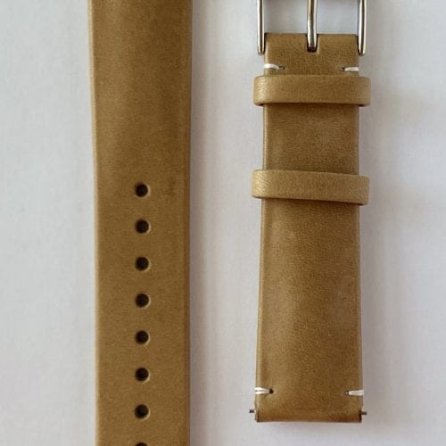 genuine calf leather watch strap vegetable tanned khaki with quick release pins and a tongue buckle
