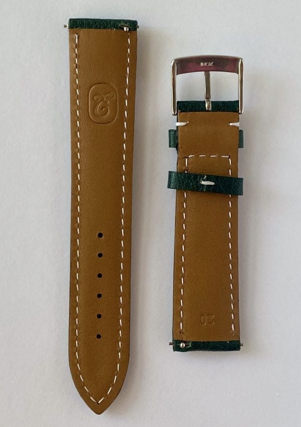 green buffalo leather watch strap, mineral tanned with quick release pins and a tongue buckle