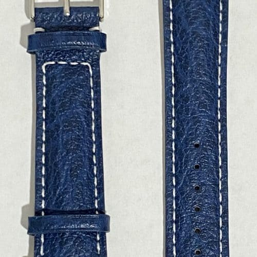 blue buffalo leather watch strap front view